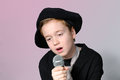 Sentimental song boy singing a Royalty Free Stock Photo