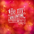 Sentimental valentines day card design vector on a blurred abstract red toned background with white text be my valentine for ever Royalty Free Stock Images