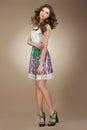 Sentimentality elegant cute female in stylish dre dress Stock Image