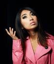 Sentimentality elegant young woman in pink coat elegance asian posing studio Stock Image