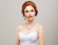 Sentimentality romantic red hair woman with flower in her head femininity bride sensuality Stock Photo