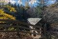 Sentinel pine bridge in franconia notch state park, new hampshir Royalty Free Stock Photo