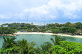 Sentosa island tropical resort of with sandy beach merlion and hotels Royalty Free Stock Photo