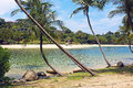 Sentosa island a view from one of the most beautiful and peaceful beaches in Stock Image