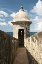 Sentry box san juan puerto rico one of the many boxes in the wall of the el morro fort in old Royalty Free Stock Images