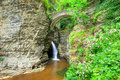 Sentry bridge waterfall under in watkins glen Royalty Free Stock Photo