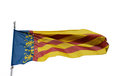 Senyera valencia flag of the comunidad valenciana a region in spain moving in the wind and isolated in white Stock Images
