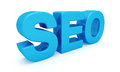 SEO 3D blue letters Stock Photo