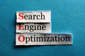 Seo abbreviation conceptual acronym on blue search engine optimization Stock Photo