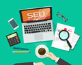 SEO analytics concept on workdesk vector, search engine optimization research Royalty Free Stock Photo