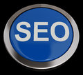 Seo button in blue showing internet marketing und optimierung Stockfotografie