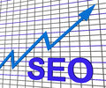 Seo chart graph search engine optimization shows increasing Stock Photos