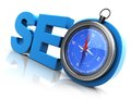 Seo compass d illustration of and acronym for search engine optimization Royalty Free Stock Photos