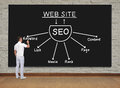 Seo concept businessman standing and drawing Stock Photography