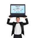 Seo concept businessman in tuxedo holding laptop with Stock Photography