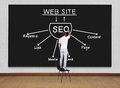 Seo concept man standing on a chair and drawing Royalty Free Stock Photo