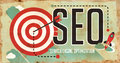Seo concept poster in flat design on old paper with long shadows Royalty Free Stock Photography