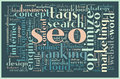 Seo concept tag cloud related words in Royalty Free Stock Photos
