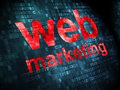 Seo concept web marketing on digital background development pixelated words d render Royalty Free Stock Photography