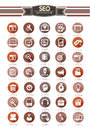 Seo icon set retro style on white background concept Royalty Free Stock Images