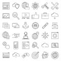 SEO icons. Internet and development signs.
