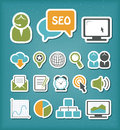 Seo icons set editable vector Stock Photos