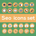 Seo icons set with longshadow