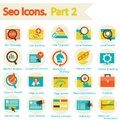 Seo icons set part flat design modern vector illustration of website searching optimization and technology development object and Stock Photography