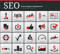 Seo icons and symbols search engine optimization Royalty Free Stock Images