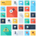 Seo icons vector collection of colorful flat search engine optimization with long shadow design elements for mobile and web Stock Photos