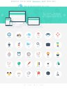 Seo icons vector illustration of modern simple and flat search engine optimization design elements for mobile and web applications Stock Images