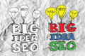Seo idea seo search engine optimization no papel amarrotado Foto de Stock