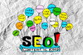 Seo idea seo search engine optimization op verfrommeld document Royalty-vrije Stock Afbeelding