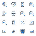 Seo internet marketing icons set blue series this contains and that can be used for designing and developing websites as well as Stock Photography