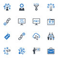 Seo internet marketing icons set blue series this contains and that can be used for designing and developing websites as well as Stock Image