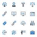 Celosvětová počítačová síť obchodní politika k dosažení maximálního ekonomického efektu ikony sada 2 modrý série