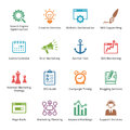 Seo internet marketing icons set colored series this contains and that can be used for designing and developing websites as well Royalty Free Stock Photos