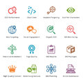 Seo internet marketing icons set colored series this contains and that can be used for designing and developing websites as well Stock Images