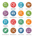 Seo internet marketing icons set long shadow series this contains and that can be used for designing and developing websites as Stock Photos