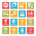 Seo and internet service icons set color for web mobile Royalty Free Stock Photos