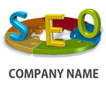 Seo logo company concept conceptual element idea brand identity graphic Stock Photography