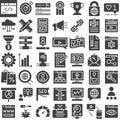Seo online marketing vector icons set