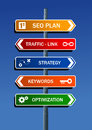 SEO plan steps road post Stock Photo