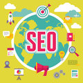 SEO (Search Engine Optimization) in Flat Design Style