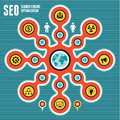 Seo search engine optimization infographic concept infographics with icons for your presentation Royalty Free Stock Photos