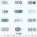 SEO, Search Engine Optimization Internet Click Logo And Icon - vector