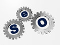 SEO in silver gearwheels Royalty Free Stock Photo
