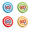Seo target set of four d icons with hand cursor on white background Stock Photography