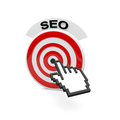 Seo text and a target with a cursor Stock Photo