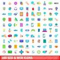 100 seo and web icons set, cartoon style